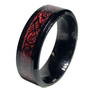 Other - Unisex Steel Black and Red Tribal Dragon Ring